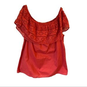 St John's Bay Coral Off the Shoulder Laser Cut Top